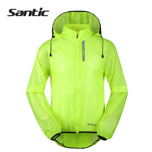 Santic Waterproof Cycling Jacket Raincoat UPF30+ Windproof Breathable Bicycle Bike Rain Jacket Hooded Cycle Jacket Green