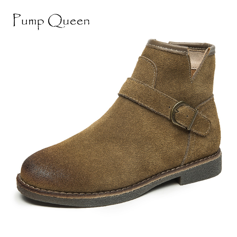 Autumn Winter Women Ankle Boots Scrub Martin Boots Genuine Leather Ladies Shoes Buckle Flat Short Boots Mujer<br>