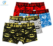 Pink Heroes 4pcs/lot Men Underwear Boxers Cartoon Printed Cotton Boxer Mens Underwear Sexy Brand Comfort Underpants Boxer Shorts