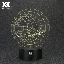 Time Machine 3D Lamp Aircraft Tunnels LED Remote Control Night Light USB Desktop Decorative Table Lamp HUI YUAN Brand(China)