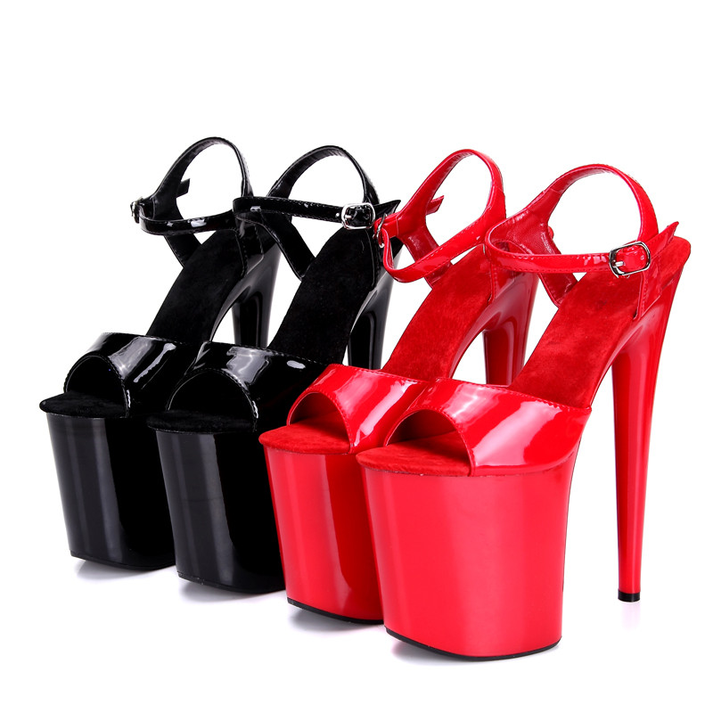 Plus size 42 43 44 45 women summer sexy red black catwalk model pole dance on the platform 20 cm extreme thick high heel sandals<br><br>Aliexpress