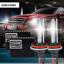 Taitian 2Pcs H11 100W Hid Xenon ballast+55W Xenon Light 12V 3000K xenon h7 h8 bulb yellow h1 bulb H3 Car fog light 9005 9006 hb4(China)