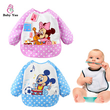 Cute Lovely Cartoon Infant Baby Bib Burp Cloths Long Sleeve Waterproof  Baby Feeding Bib Art Apron For Baby Self Feeding Baberos