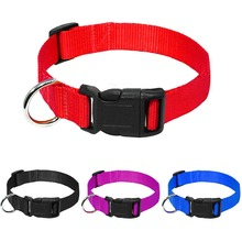 Nylon Webbing Dog Collar Heavy Duty Clip Buckle Pet Collar for Small Medium Dogs Chihuahua Dog Red Black Blue Purple