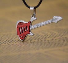 wholesale fashion jewelry findings accessories alloy antique silver music charm Guitar pendant necklace mens jewelry