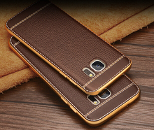 Leather Cover for Iphone 7 6 6s 5 5s Se Plus Case Samsung Galaxy S6 S7 Edge S5 S8 Note 8 4 C5 C7 Slim Rugged Back Luxury Thin(China)