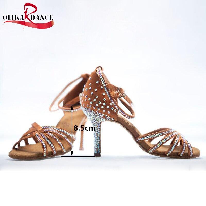 New Gilrs Nude Satin Crystal Rhinestone Ballroom SALSA Latin Shoes 5.5cm/7.5cm /8.5cm Kids  Shoes<br>