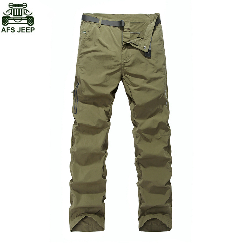 AFS JEEP Brand Outdoor Camping Hiking Softshell Climbing Mountain Waterproof Hunting Pants Trousers Quick Dry Windstopper Sports<br>