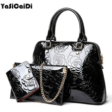 YASICAIDI High Quality PU Leather Women Handbags Floral Printing Patent 3pcs Set Purse Composite Messenger bag Leisure Tote Sac