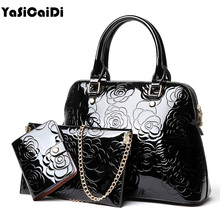 YASICAIDI High Quality PU Leather Women Handbags Floral Printing Patent 3pcs Set Purse Composite Messenger bag Leisure Tote Sac(China)