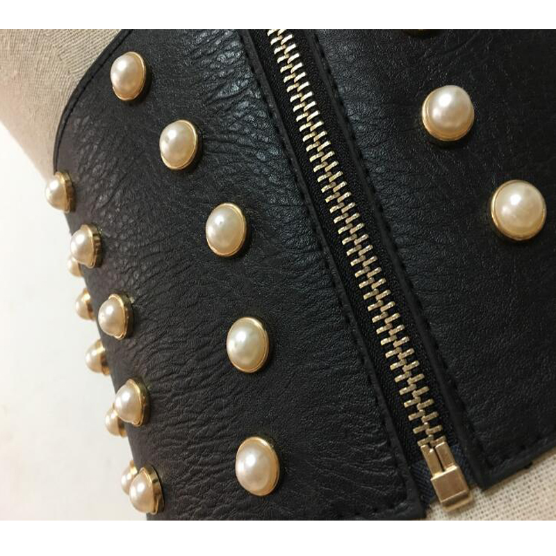 New Leather Pearl Female Belts Corset Black Elasitc Wide Belts for Women Dress Cummerbund Korea Fashion Clothes Accessory