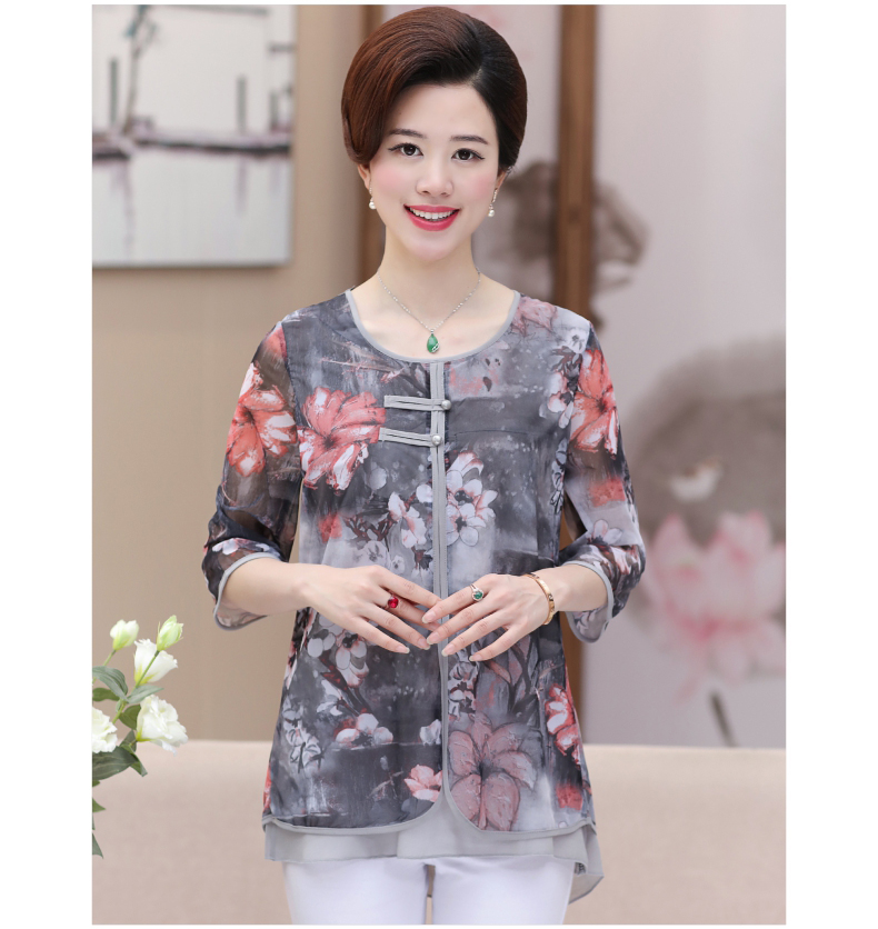 WAEOLSA Chinese Style Woman Ethnical Chiffon Blouses Gray Blue Red Green Flower Layered Tops Women Oriental Boon Design Blouse Lady Crepe Tunic (15)