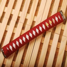 New Straight Tsuka Red Silk Ito & Imitated White Rayskin & Alloy Fuchi Kashira for Japanese Sword Katana Handle Fitting H34(China)