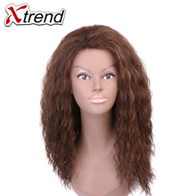 Xtrend Long Synthetic Afro Curly Hair Wigs For Black Women Cosplay Hairstyles None Lace Wig Adjustable High Temperature Fiber