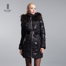 Basic-editions Genuine brand Women Jacke Parka With Fox Fur white duck feather Slim women's down jacket ZY11054 Free shipping(China)