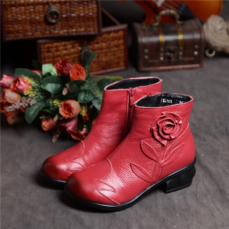 New Fashion Leather Women Boots Winter Shoes Casual Moccasins Women Boots Flat Shoes Handmade Shoes Woman Boots Mid Black/red<br><br>Aliexpress