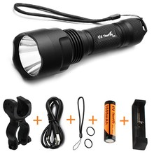 ThorFire C8s hight power 5 Modes 900 Lumen LED Flashlight Waterproof bicycle cycling torch +18650 Battery+Charger+Light Mount(China)