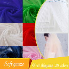 1.65(width)*3m various colors Soft gauze fabric encryption mosquito net mesh yarn doll costume dress wedding veil decoration(China)