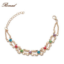 Romad Rose Gold Color Colorful Circles Bracelet & Bangles for Woman Rhinestones Double Layer Round Female Bracelets(China)