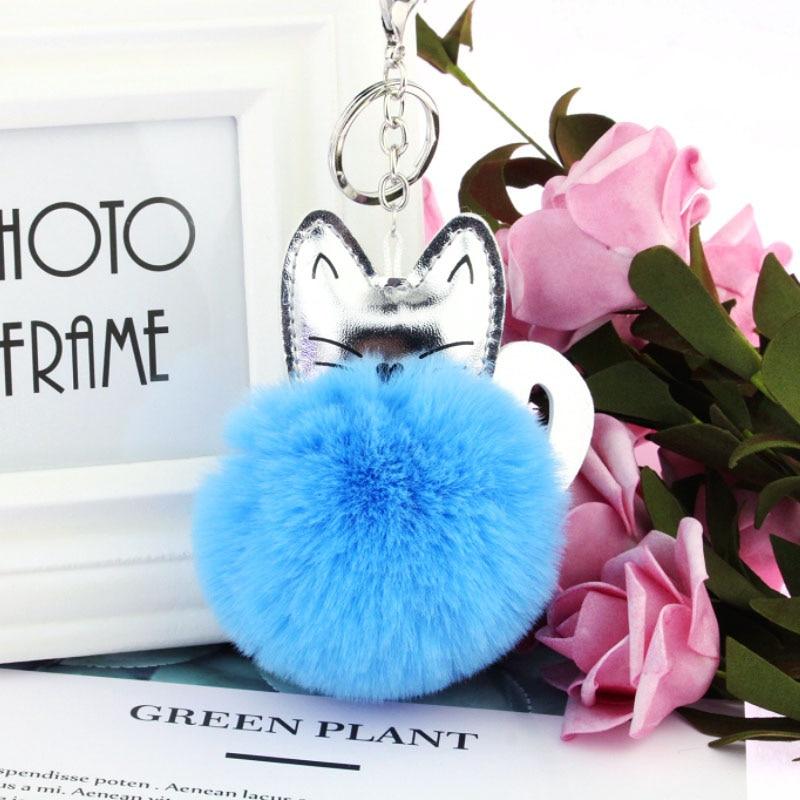 Fluffy Pom Cute Ball Handbag Soft Cat Key Ring Rabbit Fur Key Chain Pendant