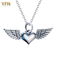 YFN Genuine 925 Sterling Silver Heart Pendant Necklaces with Angel Wings Wholesale Antique Silver Necklace For Women GNX11417