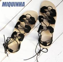 MIQUINHA Summer Fashion Heart Shape Suede Leather Women Lace Up Flat Sandals Cut Out Style Ladies Gladiator Shoes Dress Shoes
