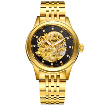 Mens Wrist Watch Dragon Skeleton Automatic Mechanical Watches Stainless Steel Strap Gold Clock 50m Waterproof Relogio Masculino