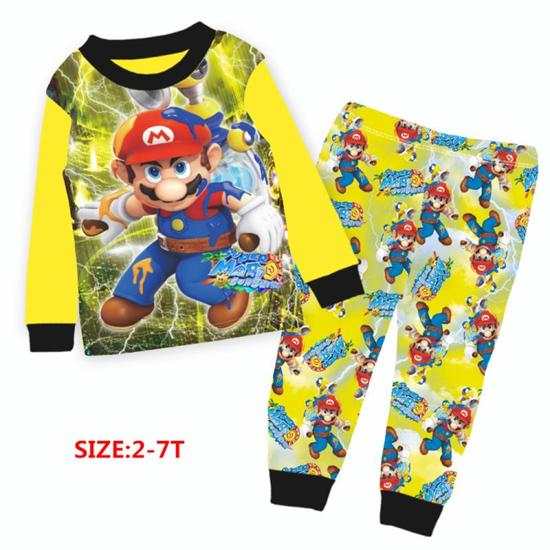 UK Toddler Kids Boy Cartoon Super Mario Cotton Sleepwear Nightwear Pajamas Set