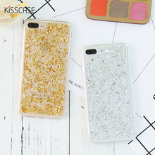 KISSCASE For iPhone 7 5 5s SE 6 6s 7 Plus Case Silicone Soft TPU Silicon Glitter Bling Gold Back Cover For iPhone 7 7 Plus Case