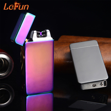 2017 USB Electric Dual Arc Metal Flameless Torch Rechargeable Windproof Lighter Double Arc Pulse Cross Ligthers Smoking lighter(China)