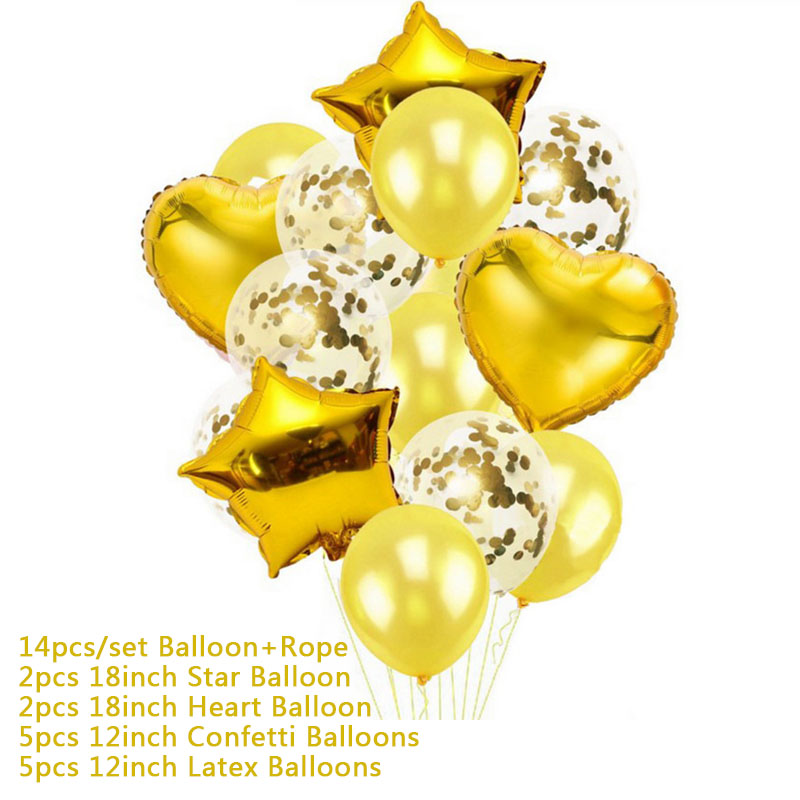 Hoomall 10/14PCs Confetti Air Balloons With Rope Heart Star Gold Champagne Latex Helium Balloon Wedding Decorations Party Supply 30