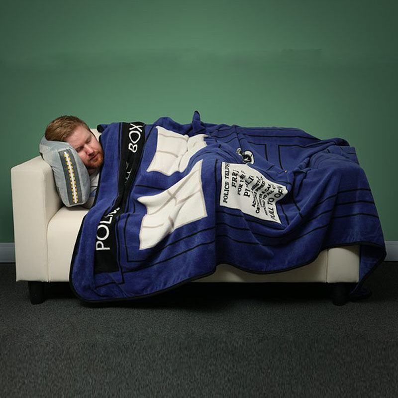 Multi-function Anime Doctor Who TARDIS Blankets Coral Fleece Police Box Carpet Throw Blankets Blue Bed sheet 127*226cm<br>
