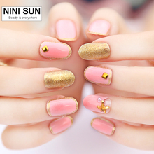 24pcs/set Beauty  Pre Design Oval Nail Tips with Star Decoration Acrylic Full French Nails Tips 3d False Nail With Free Glue