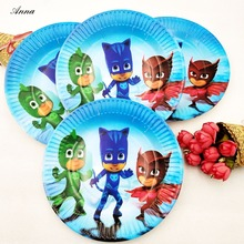 10pcs/bag PJ Masks Party Supplies Paper Plate Cake Dishes Kids Birthday Baby Shower Decoration PJ Masks Plates 7inches supplies(China)