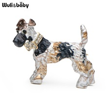 Enamel Schnauzer Banquet Rhinestone Dog Brooches Alloy Suits Sweater Hat Animal Brooch Pins Scarf Buckle Women Gift(China)