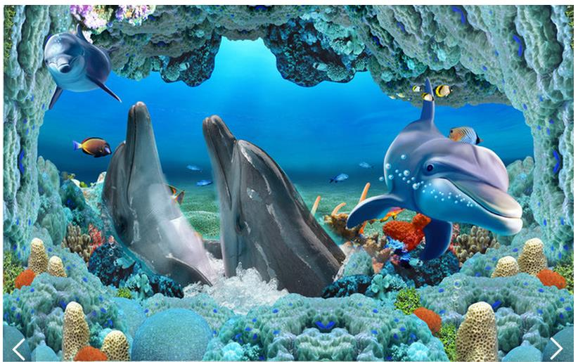 3d wallpaper custom 3d flooring painting wallpaper Dolphins underwater world 3 d floor painting 3d living room photo wallpaper<br>