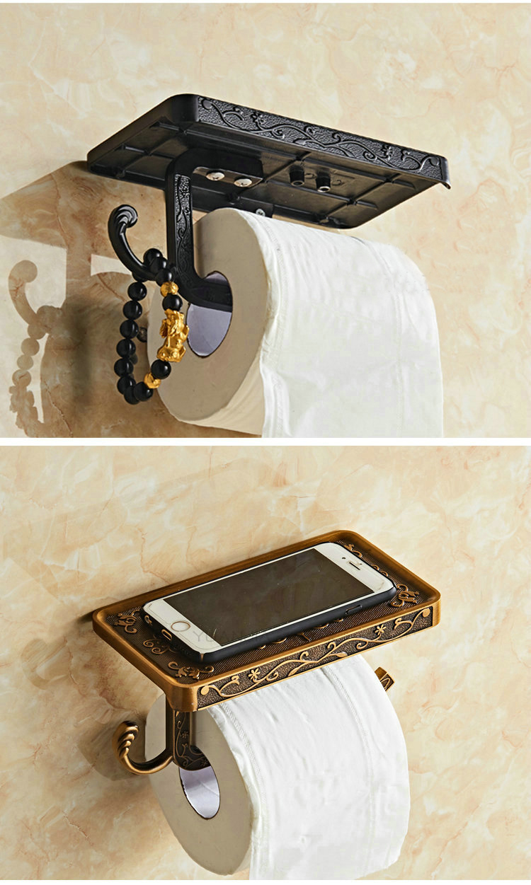 Free Shipping Toilet Roll Paper Holder with Mobile Phone Rack Wall Mounted No Cover Space antique black white paper holder