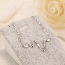 Heartbeat necklace Heart Beating Rate Electrocardiogram ECG silver pendant jewelry for women wholesale