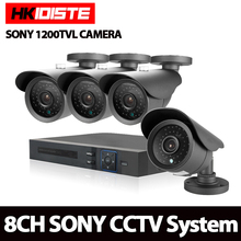 8CH AHD DVR 1200TVL 720P HD Outdoor Security Camera System 8 Channel CCTV DVR Kit Sony CCD Camera Set night vision View(China)