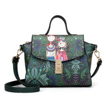 New Fashion designer luxury brand high quality PU leather ladies ladies green cartoon handbag shoulder bag female handbag E71(China)