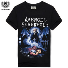 [Men Bone] New Arrival Summer Heavy Metal Rock Men T Shirt Avenged Sevenfold Print T-shirt Short Sleeve Hip hop Casual Men Tees