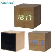 1PC Digital LED Bamboo Wooden Wood Desk Alarm Brown Clock Voice Control Wonderful3.08(China)