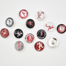 12 Styles Alabama Crimson Tide Snap Buttons 18MM Round Glass College Sports Snap Charms Jewelry(Mixed 50pcs or Single 10pcs)(China)