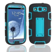 For Samsung Galaxy S3 Neo Case Silicone Colorate Cover Stand Phone Cases For Samsung galaxy S3 Case Shockproof 3 in 1 Back Cover(China)