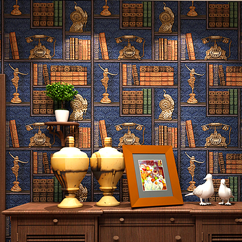 3D Creative Bookshelf Library Study Background Wall Decoration Wall Papers Home Decor Retro European Style Living Room Wallpaper<br>