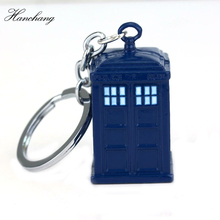 Doctor Who Dalek Blue Enamel TARDIS Police Box Pendant Keychain keyring Car Key Chain Accessories Men Jewelry Souvenir Fans Gift(China)
