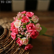 Wholesale cheap 5 color 21 heads Autumn Fake Silk Flower Artificial Rose Wedding Party Home Floral Flower Arrangement Decoration