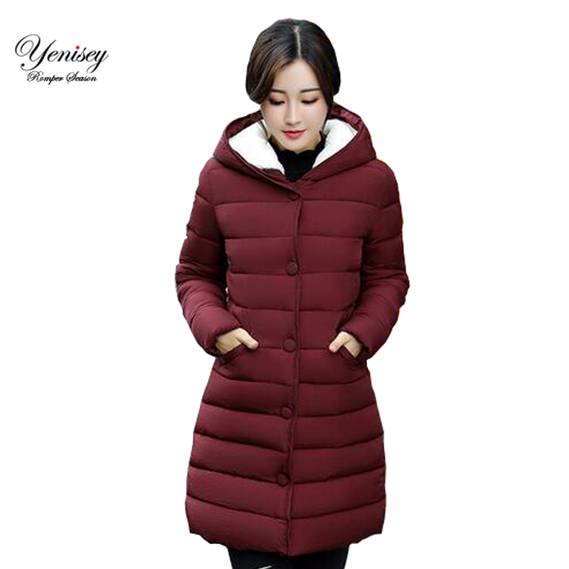 2017 winter Hooded Coat girls long slim size jacket padded coat thick down Korean winter coat down parka women thick coat(China)