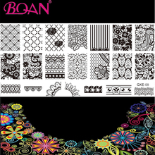 10pcs/lot Lozenge Diagram/Lace/Rose Patterns DIY Nail Art Stamping Printing Machine(China)