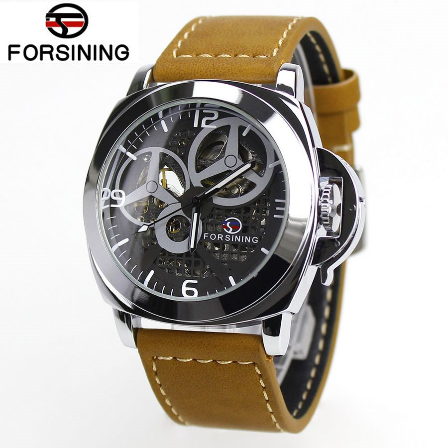 FORSINING 2017 New Fashion Watch Mens Skeleton Auto Mechanical Watches Wristwatch  Gift Free Ship<br><br>Aliexpress